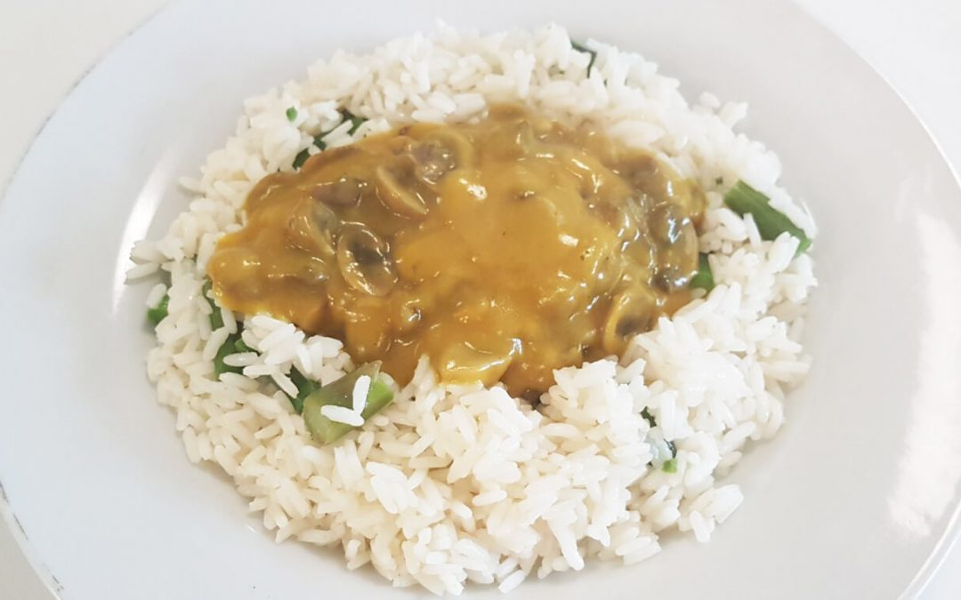 Asparagus Rice with Mushrooms in Chinese Curry Sauce